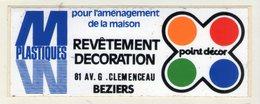 .STICKER .. AUTOCOLLANT . BEZIERS  .PLASTIQUES  POUR L'AMENAGEMENT DE LA MAISON . DECORATION 81 AVENUE G. CLEMENCEAU - Stickers