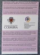 Ticket Parking Automobile à Coimbra Portugal Du 28/08/2018 - Titres De Transport