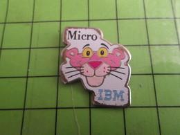 210c Pin's Pins / Beau Et Rare : Thème INFORMATIQUE : MICRO IBM PANTHERE ROSE - Computers