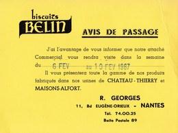 Carte 1967 BISCUITS BELIN BD EUGENE ORIEUX A NANTES - Nantes