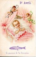 Carte Illustrée. 1er Avril. Bébé Dans Son Berceau. Le Premier De La Douzaine - 1er Avril - Poisson D'avril