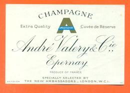 étiquette Ancienne De Champagne Ambassadors André Valery Et Cie à épernay - 78 Cl - Champagne