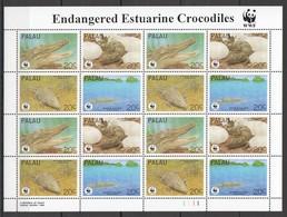 E1347 1994 PALAU WWF FAUNA REPTILES ENDANGERED ESTUARINE CROCODILES 1SH MNH - W.W.F.