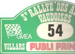 Plaque De Rallye, 3 E Rallye Des Alpes Vaudoises, 1984,Villars , Suisse , 3 Scans , N° 54, Frais Fr 4.75 E - Plaques De Rallye