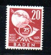 Baden / N 56 / 20 P Rouge  /  NEUF ** - Baden