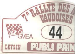 Plaque De Rallye, 7 E Rallye Des Alpes Vaudoises, 1988, LEYSIN , Suisse , 3 Scans , N° 44, Frais Fr 4.75 E - Plaques De Rallye