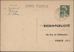 Entier CP Marianne Muller 12F Vert Repiquage Avenir Publicité Emplacement Affiches Publicitaires Cachet Mairie - Overprinter Postcards (before 1995)