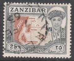 Zanzibar 1961 Sultan Seyyid Sir Abdulla Bin Khalifa. 25c Used. SG 377 - Zanzibar (...-1963)