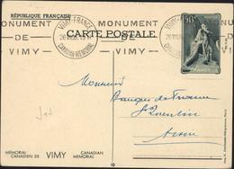 Entier CP Memorial Canadien De Vimy Storch J1j N°10 Escalier Noms Gravés CAD Vimy Canadian Memorial 26 VII 38 + Flamme - Postal Stamped Stationery