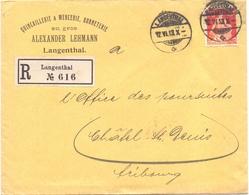 Suisse Lettre Recommandée Langenthal Alexander Lehmann Quincaillerie Mercerie Bonneterie Pour Chatel Saint Denis - Suisse
