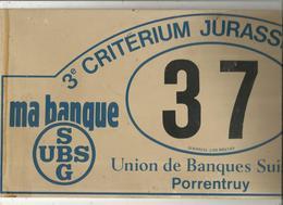 Plaque De Rallye, 3e Criterium Jurassien 1980 , 2 Scans , N° 37,union Des Banques Suisses Porrentruy, Frais Fr 4.75 E - Rally-affiches