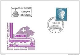 """128 - 45 - Carte Avec Rare Oblit Spéciale """"Journée Du Timbre Fribourg 1963"""" - Marcophilie"""