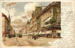 KARLSRUHE, Kaiserstrasse, C. Münch (1902) Litho AK - Karlsruhe