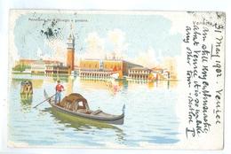 1902, Italy, Venezia, Panorama Da S.Giorgio E Gondola. Printed Art Pc, Used. - Venezia (Venice)