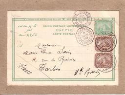 EGYPTE - CARTE MAXIMUM - EGYPT POSTAGE , TIMBRE PYRAMIDES , UN ET DEUX MILLIEMES CACHET PAQUEBOT L. U. N° 3 - 1899 - Égypte