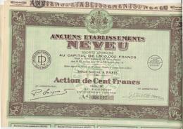 ANCIENS ETABLISSEMENTS NEVEU -  ACTION DE 100 FRS SERIE B - ANNEE 1926 - Industrie