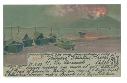 1903, Italy, Napoli, Vesuvius. Printed Art Pc, Used, VE Flag Pmk. - Napoli (Naples)