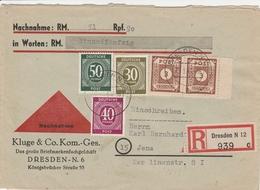 Allemagne Zone Soviétique Lettre Recommandée Contre Remboursement Dresden 1946 - Zona Sovietica