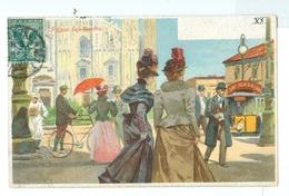 1900's, Italy, Milan, Piazza Del Duomo. Printed Art Pc, Used. - Milano (Milan)
