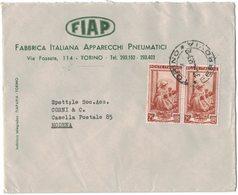 AI69  Busta Pubblicitaria - FIAP, Torino - Coppia £.25 Italia Lavoro 1953 - 6. 1946-.. Repubblica
