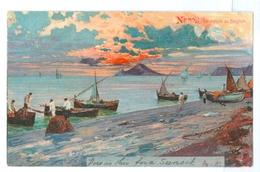 1904, Italy, Napoli, Spiaggia Dei Bagnoli, Vesuvius. Printed Art Pc, Used, Tonbridge Pmk. - Napoli (Naples)