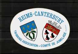 Autocollant  -    REIMS   CANTERBURY   -   Twinning Association - Comité De Jumelage - Stickers
