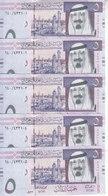 SAUDI ARABIA 5 RIYAL 2012 1433 P-32c LOT X5 UNC NOTES KING ABD ALLAH NEW */* - Saudi Arabia