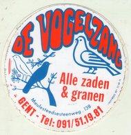 AUTOCOLLANT . STICKER .GAND . DE VOGELZANG . OISEAUX . ALLE ZADEN & GRANEN . MEULESTEEDSESTEENWEG .  . GENT . - Stickers