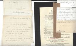 GENERAL HENRI DE POURQUERY DE PECHALVES  Autographe  3 Lettres 1871 + Cdv + Faire Part Décès 1914 - Autographs