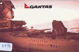 Télécarte  JAPON * QANTAS  (2470) * AVIATION * AIRLINE Phonecard  JAPAN AIRPLANE * FLUGZEUG - Avions