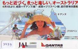 Télécarte  JAPON * QANTAS  * FEMME (2473) * AVIATION * AIRLINE Phonecard  JAPAN AIRPLANE * FLUGZEUG - Avions