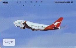 Télécarte  JAPON * QANTAS  * (2474) * AVIATION * AIRLINE Phonecard  JAPAN AIRPLANE * FLUGZEUG - Avions