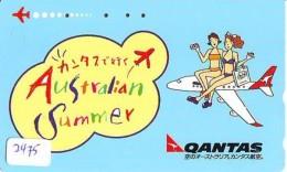Télécarte  JAPON * QANTAS  * (2475) * AVIATION * AIRLINE Phonecard  JAPAN AIRPLANE * FLUGZEUG - Avions
