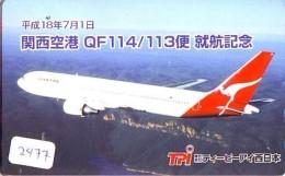Télécarte  JAPON * QANTAS  * (2477) * AVIATION * AIRLINE Phonecard  JAPAN AIRPLANE * FLUGZEUG - Avions
