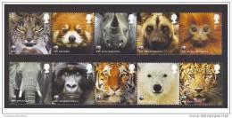 WWF W.W.F Great Britain MNH Stamps : Elephant / Monkey / Tiger / Red Panda / Polar Bear / Rhino / Cat / Lynx 2011 - W.W.F.