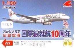 Télécarte  JAPON * DRAGON AIR  (2483) * AVIATION * AIRLINE Phonecard  JAPAN AIRPLANE * FLUGZEUG - Avions