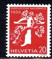 475/1500 - SVIZZERA 1939 , Unificato N. 335A  ***  MNH.  Leggenda Italiana  Carta Goffrata - Svizzera