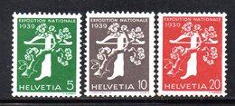 477/1500 - SVIZZERA 1939 , Unificato N. 329A/331A  ***  MNH.  Leggenda Francese  Carta Goffrata - Schweiz