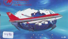 Télécarte  JAPON * NORTHWEST AIRLINES *  (2490)  AVIATION * AIRLINE Phonecard  JAPAN AIRPLANE * FLUGZEUG - Airplanes