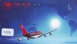 Télécarte  JAPON * NORTHWEST AIRLINES *  (2491)  AVIATION * AIRLINE Phonecard  JAPAN AIRPLANE * FLUGZEUG - Airplanes