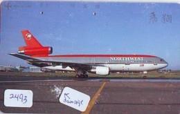 Télécarte  JAPON * NORTHWEST AIRLINES *  (2493)  AVIATION * AIRLINE Phonecard  JAPAN AIRPLANE * FLUGZEUG - Airplanes