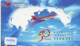 Télécarte  JAPON * NORTHWEST AIRLINES *  (2494)  AVIATION * AIRLINE Phonecard  JAPAN AIRPLANE * FLUGZEUG - Avions