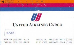 Télécarte  JAPON * UNITED AIRLINES *  (2501)  AVIATION * AIRLINE Phonecard  JAPAN AIRPLANE * FLUGZEUG - Airplanes