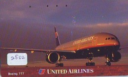 Télécarte  JAPON * UNITED AIRLINES *  (2502)  AVIATION * AIRLINE Phonecard  JAPAN AIRPLANE * FLUGZEUG - Flugzeuge