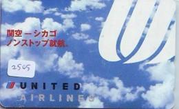 Télécarte  JAPON * UNITED AIRLINES *  (2505)  AVIATION * AIRLINE Phonecard  JAPAN AIRPLANE * FLUGZEUG - Airplanes