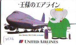 Télécarte  JAPON * UNITED AIRLINES *  (2506)  AVIATION * AIRLINE Phonecard  JAPAN AIRPLANE * FLUGZEUG - Airplanes