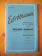 WW2 / EDITORIAUX RADIO / PHILIPPE HENRIOT / SECRETARIAT ETAT INFORMATION / ORIGINAL 1944 - 1939-45