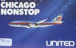 Télécarte  JAPON * UNITED * CHICAGO *  (2510)  AVIATION * AIRLINE Phonecard  JAPAN AIRPLANE * FLUGZEUG - Airplanes
