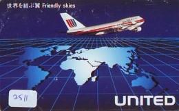 Télécarte  JAPON * UNITED *  (2511)  AVIATION * AIRLINE Phonecard  JAPAN AIRPLANE * FLUGZEUG - Airplanes