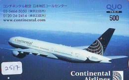 Télécarte  JAPON * CONTINENTAL AIRLINES *  (2517)  AVIATION * AIRLINE Phonecard  JAPAN AIRPLANE * FLUGZEUG - Airplanes